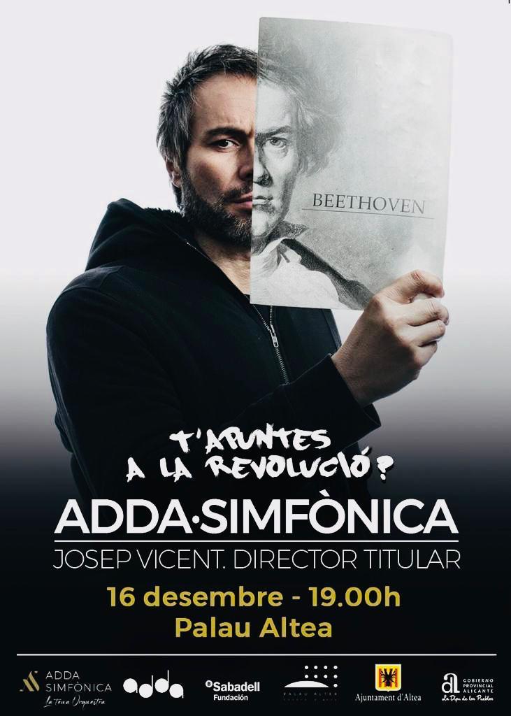 """L'orquestra ADDA Simfònicaarriba a Altea de la mà de Josep Vicent. El concert es celebrarà este diumenge, 16 de desembre, a les 19:00 hores a Palau Altea. No et perdes elconcert """"de les grans simfonies"""" amb interpretacions de Beethoven iTxaikovski."""