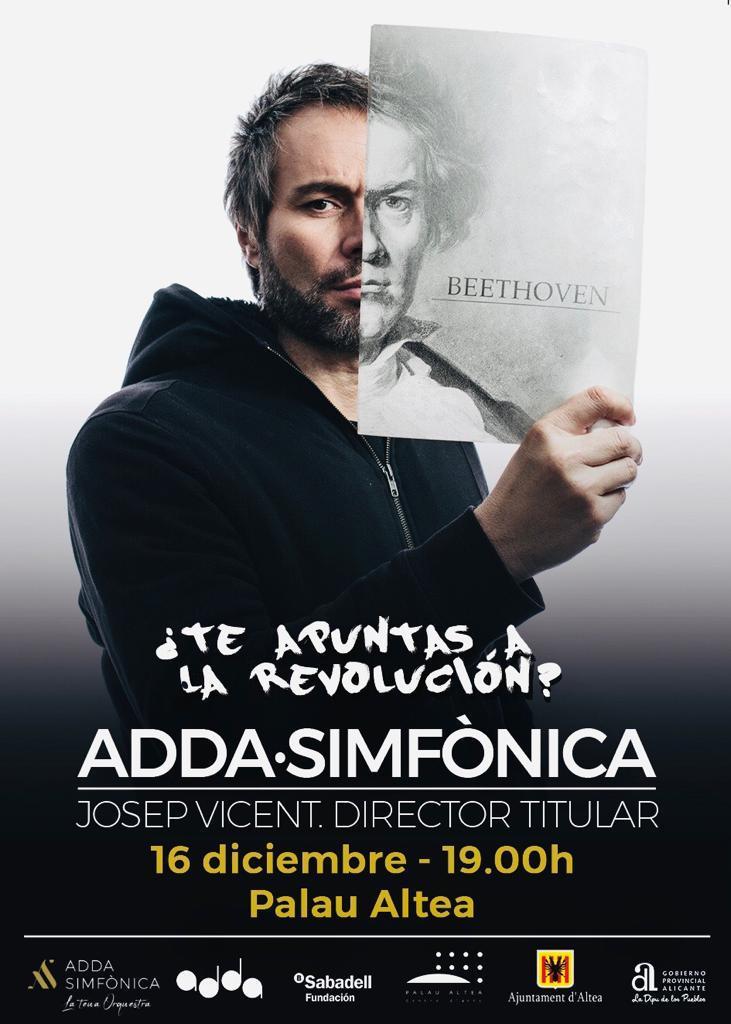 """La orquesta ADDA Simfónicallega a Altea de la mano de Josep Vicent. El concierto se celebrará este domingo, 16 de diciembre, a las 19:00 horas en Palau Altea. No te pierdas elconcierto """"de las grandes sinfonías"""" con interpretaciones de Beethoven y Txaikovski."""