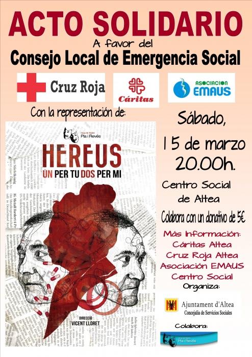 Serveis Socials organitza un teatre benèfic, a favor del Consell Local d'Emergència Social