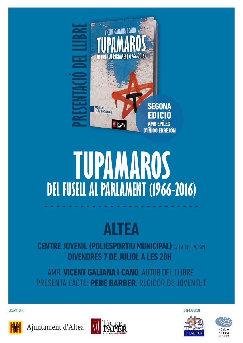 El Centre Juvenil acull demà divendres, 7 de juliol, a les 20 hores, la presentació del llibre ''Tupamaros, del fusell al parlament (1966-2016)'' del professor i historiador Vicent Galiana. El regidor de Joventut, Pere Barber, serà l'encarregat de presentar l'acte. Amb epíleg d'Íñigo Errejón, esta obra que ja va per la segona edició tracta sobre la història dels Tupamaros, el principal grup armat de l'Uruguai, i connecta l'onada revolucionària llatinoamericana dels 60 amb l'auge de la Marea Rosa dels primers 2000.