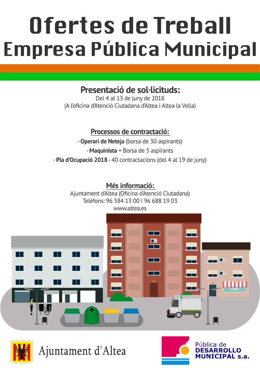 La Pública de Desenvolupament Municipal obri la seua oferta de treball