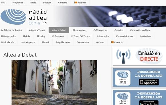 Ràdio Altea renova el seu web i presenta les aplicacions per a escoltar l'emissora des de tableta i telèfon mòbil