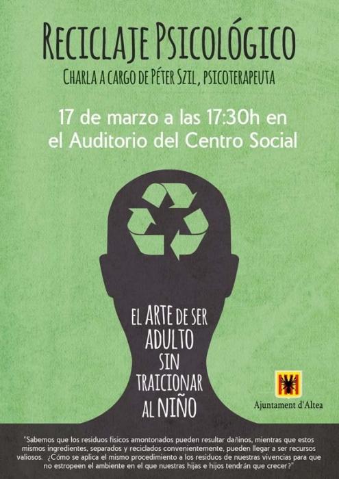 """Educació organitza la xarra """"Reciclatge psicològic: l'art de ser adult sense trair al xiquet"""""""