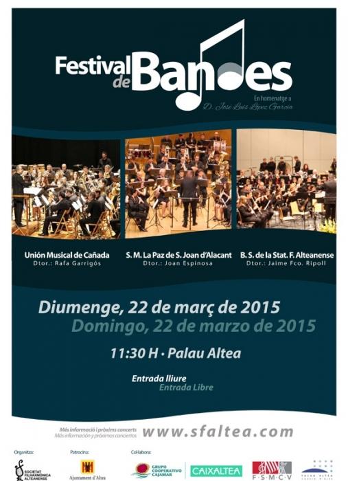 Les bandes d'Altea, La la Canyada i Sant Joan participen en el Festival de Bandes organitzat per la Filharmònica Alteanense en homenatge al mestre José Luis López García