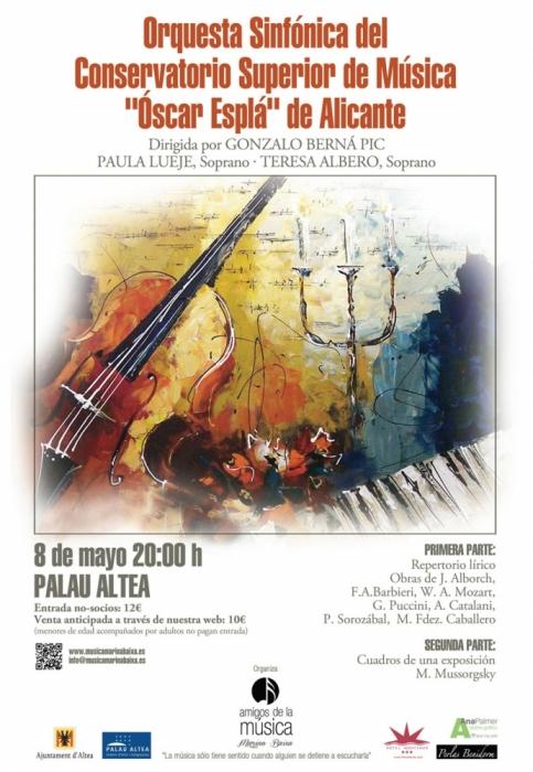 Palau Altea acull l'actuació de l'Orquestra Simfònica del Conservatori Superior Óscar Esplá de Alacant