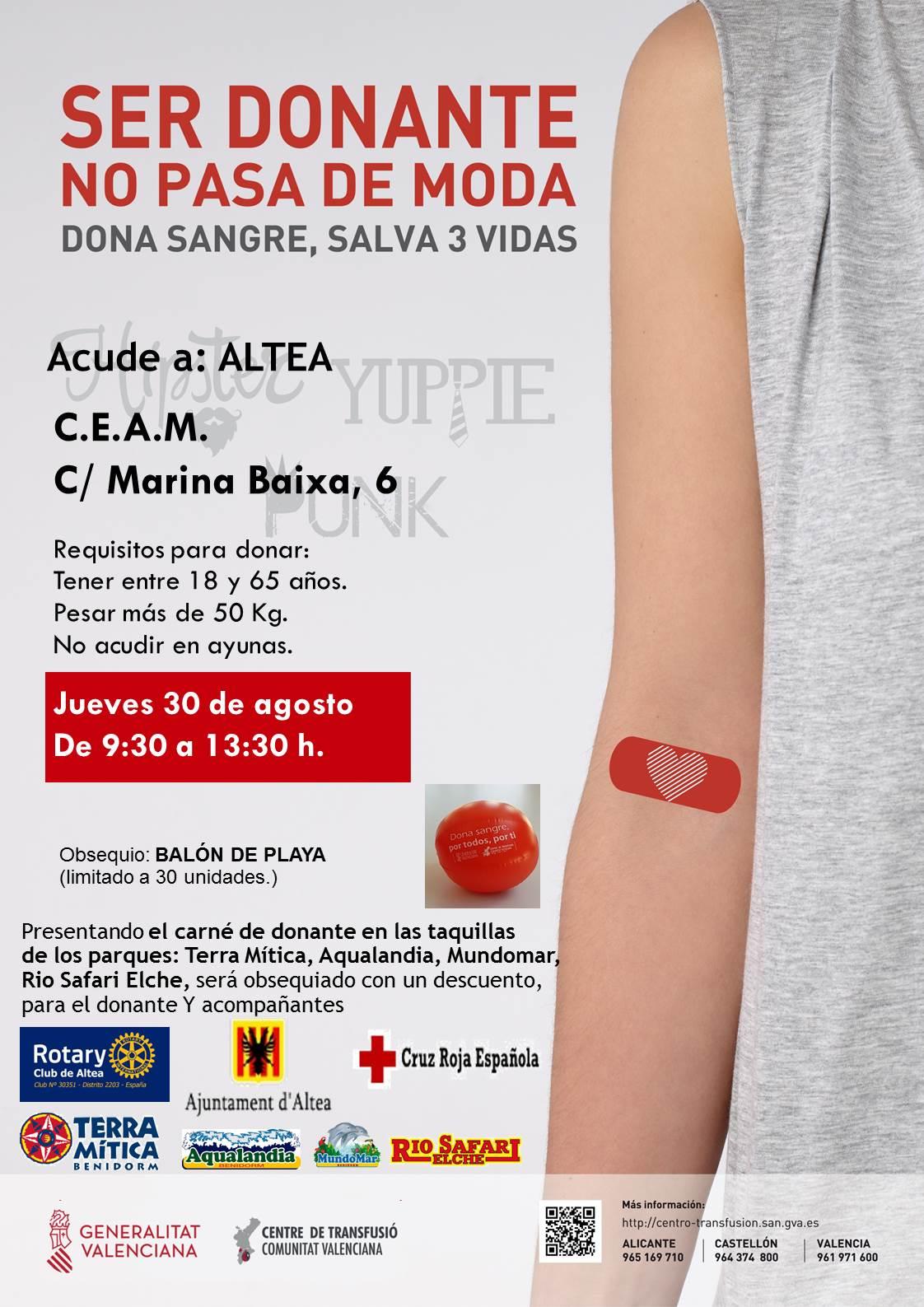 Jueves 30 de agosto, de 9:30 a 13:30h y de 16:30 a 21:00h en el CEAM, puedes donar sangre y salvar tres vidas