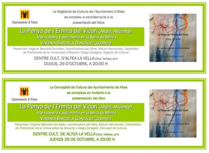 El Centre Cultural d'Altea la Vella acull aquest dijous la presentació del llibre 'La Penya de l'Ermita del Vicari'