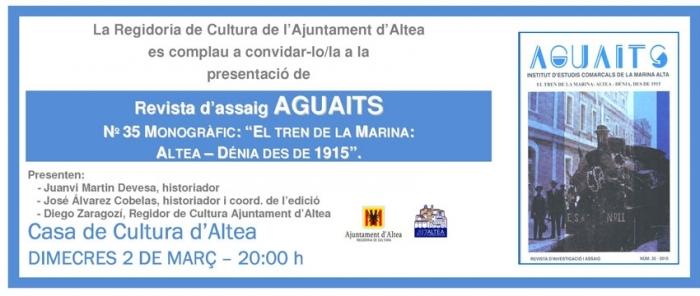 La Casa de Cultura acull demà la presentació del monogràfic del tren de la Marina de la revista Aguaits