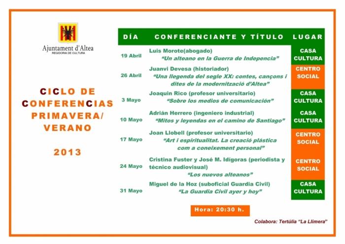 Cultura organitza un cicle de conferències juntament amb la Tertúlia La *Llimera
