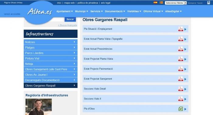 Infraestructures posa a l'accés de la ciutadanía la informació sobre les obres de Garganes a través de la web municipal