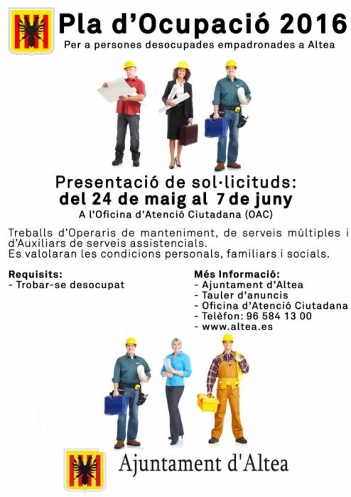 L'Ajuntament d'Altea i l'Empresa Pública de Desenvolupament Municipal presenten el Pla d'Ocupació 2016