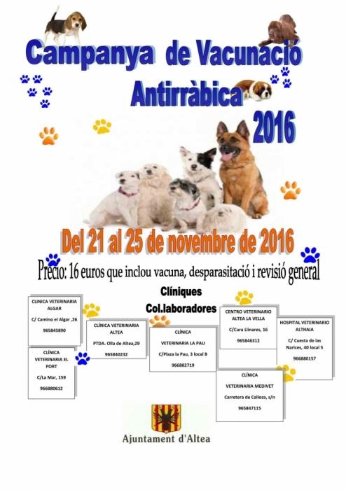 Sanitat anuncia la campanya de vacunació antiràbica del 21 al 25 de novembre