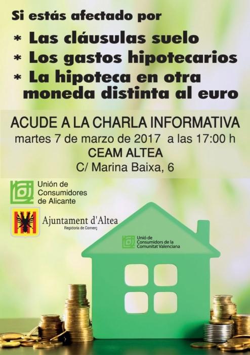 La concejalía de Comercio organiza una charla informativa sobre las cláusulas suelo el martes 7 de marzo
