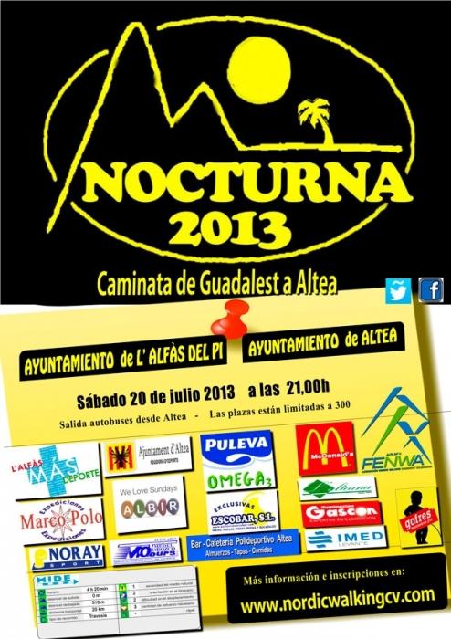6ª Nocturna 2013, Caminada del Castell de Guadalest a Altea