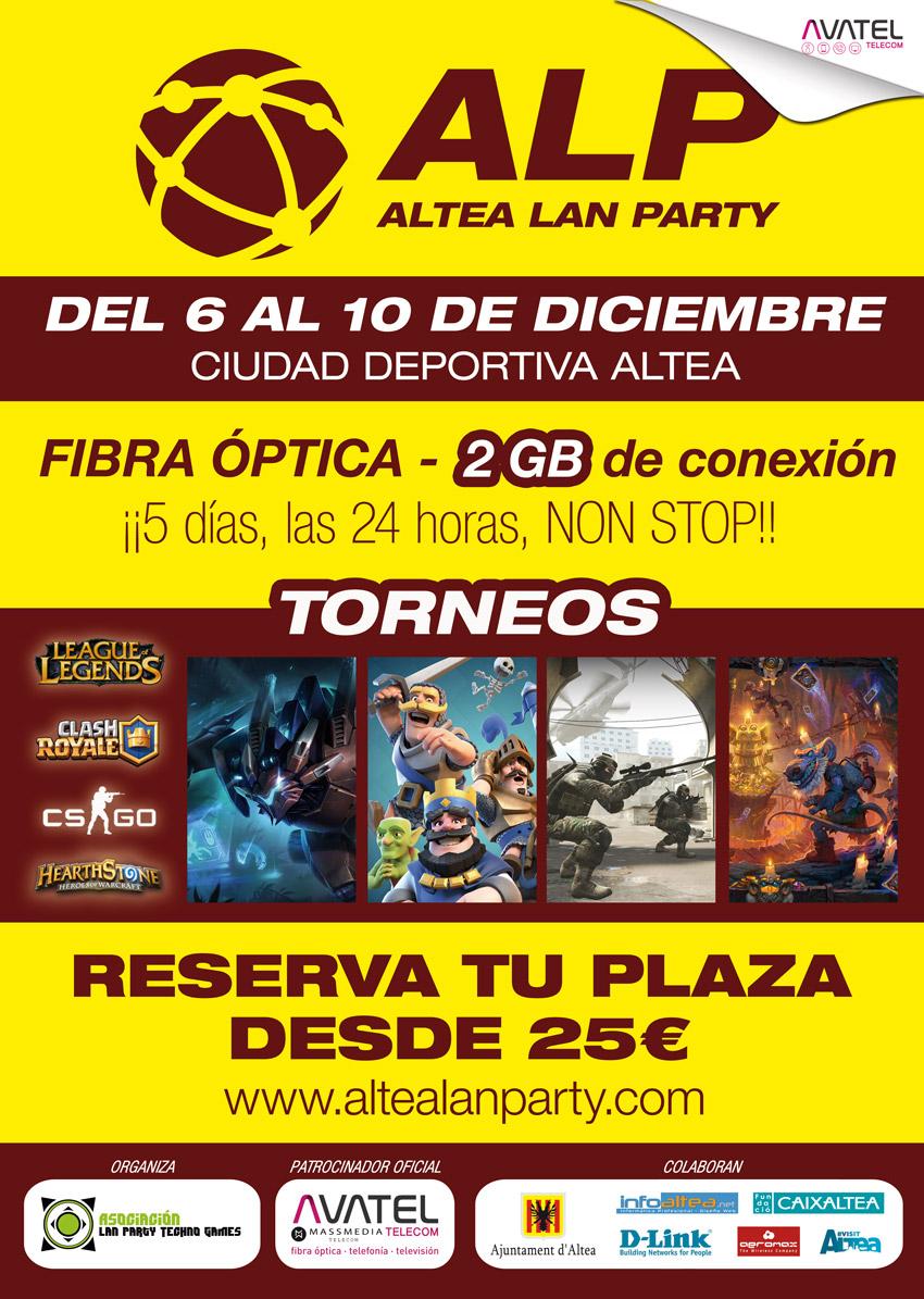 Des de el 6 de desembre fins al 10 tindrà lloc a la ciutat esportiva l'Altea Lan Party 2017, en la que participaran més de 100 jóvens en la Lan Party més important de la província d'Alacant.