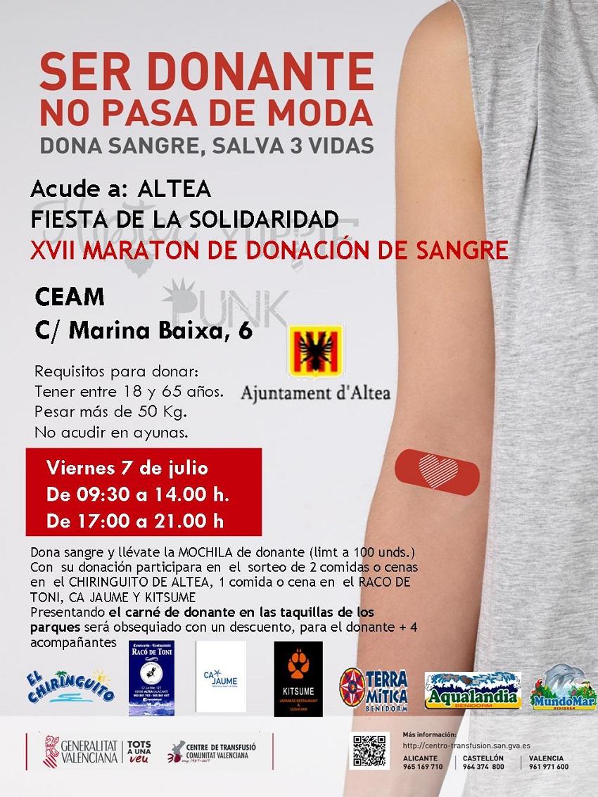 XVII Marató de Donació de Sang d'Altea este divendres 7 de juliol