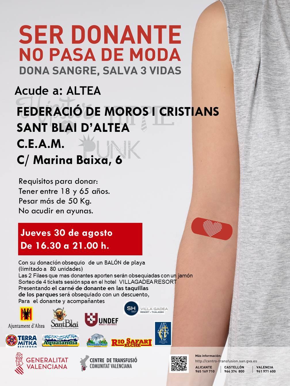 Dijous 30 d'agost, de 9:30 a 13:30h i de 16:30 a 21:00h en el CEAM, pots donar sang i salvar tres vides
