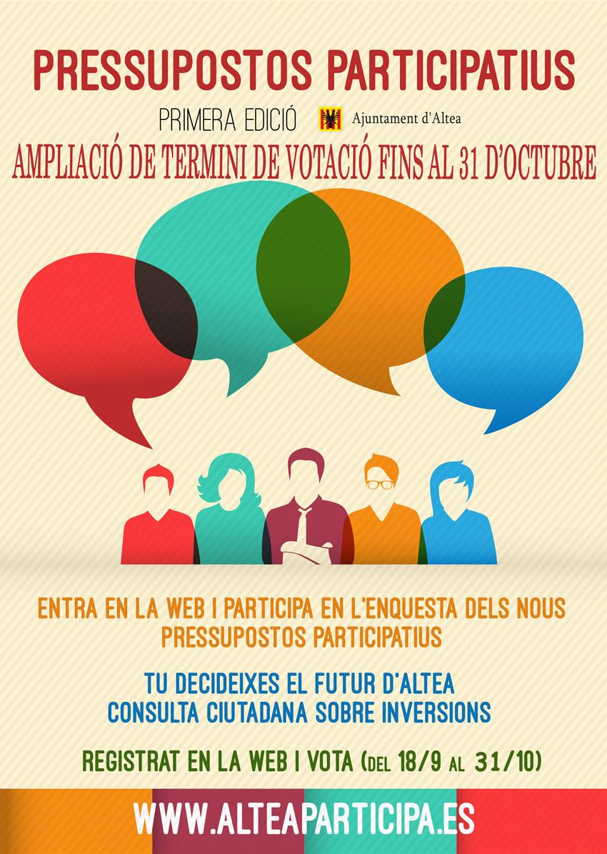 S'amplia el plaç de participació en els Pressupostos Participatius