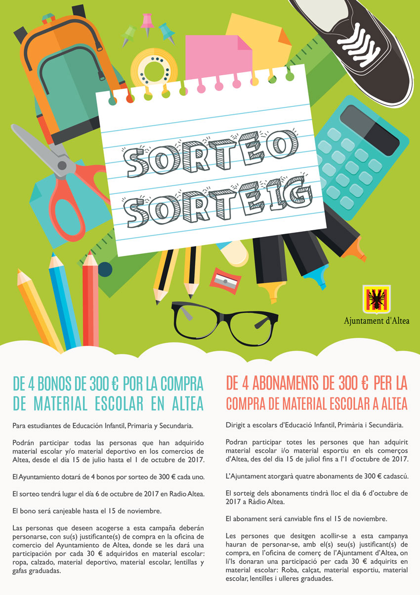 Comerç sortejarà 4 abonaments de 300 euros per la compra de material escolar als establiments d'Altea