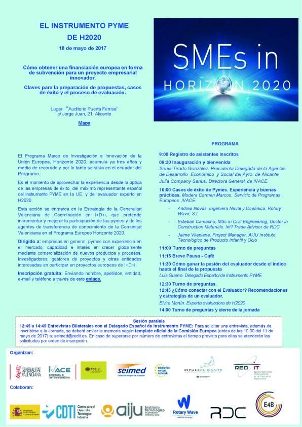 L'Oficina de Projectes Europeus informa sobre la jornada ''El Instrumento Pyme Horizon 2020'', una activitat que tindrà lloc el dia 18 de maig per donar a conèixer com obtenir finançament europeu per a un projecte empresarial innovador. Més informació: http://bit.ly/2riEt8E