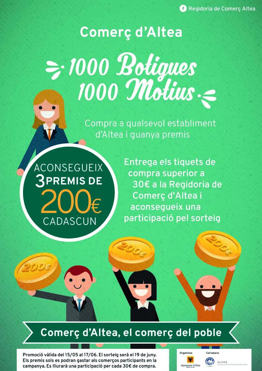 """Comerç posa en marxa de nou la campanya """"1000 botigues, 1000 motius"""" amb l'objectiu de promocionar els establiments locals"""