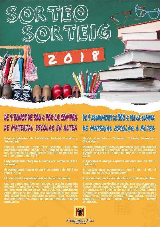 Comercio anuncia el sorteo de 4 bonos de 300 euros por la compra de material escolar en Altea