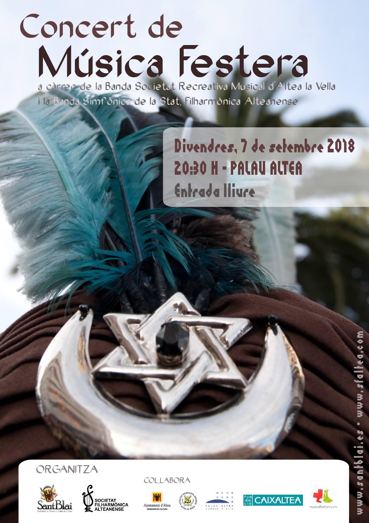 Concierto de Música Festera, viernes 7 de septiembre a las 20:30h en el Palau de Altea, entrada libre