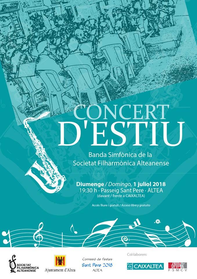 Domingo 1 de julio a las 19:30h, Concirto de Verano de la Banda Sinfónica de la Sociedad Filarmónica Alteanense en el Paseo Sant Pere. Acceso libre  y gratuito..