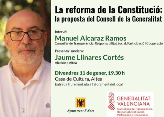 """El conseller Manuel Alcaraz tractarà a Altea """"La reforma de la Constitució: la proposta del Consell de la Generalitat"""", el divendres 11 de gener, a la Casa de Cultura, a les 19:30 hores"""