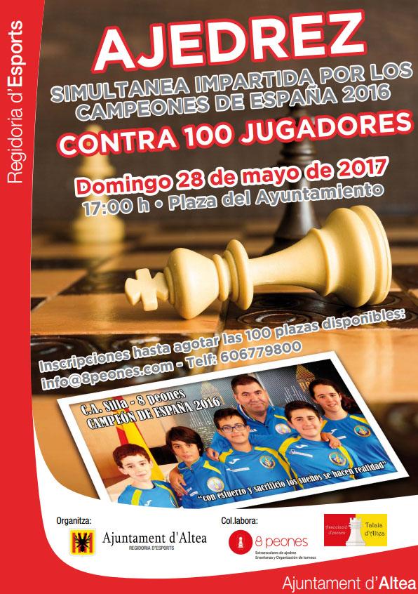 L'Associació Educativa d'Escacs Social Talaia d'Altea, en col•laboració amb l'Ajuntament d'Altea i a través de 8 Peones, organitza una simultània que es durà a terme el diumenge 28 de maig, on els cinc membres de l'equip Campió d'Espanya sub-12 s'enfrontaran a un total de 100 jugadors de diferents edats. L'esdeveniment tindrà lloc a les 17h a la Plaça de l'Ajuntament d'Altea.
