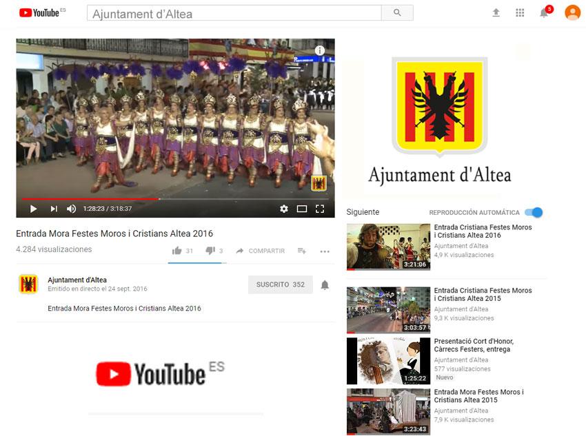 El canal municipal de YouTube oferirà en directe les entrades Mora i Cristiana de les festes d'Altea