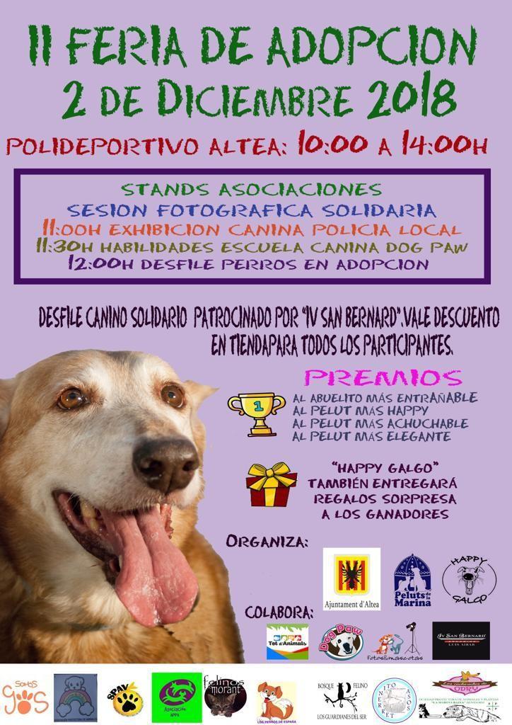 La II Feria de Adopción arriba a Altea aquest diumenge 2 de desembre, al Poliesportiu d'Altea, de 10:00 a 14:00 hores, amb multitud d'activitats