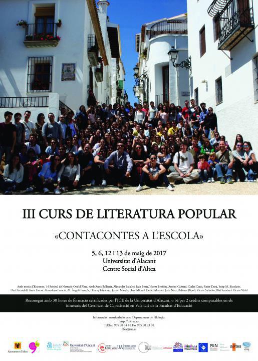 III Curs de Literatura Popular de la Universitat d'Alacant. Altea es consolida com la capital valenciana de la literatura popular amb la celebració de la tercera edició d'este curs que dirigeix Joan Borja