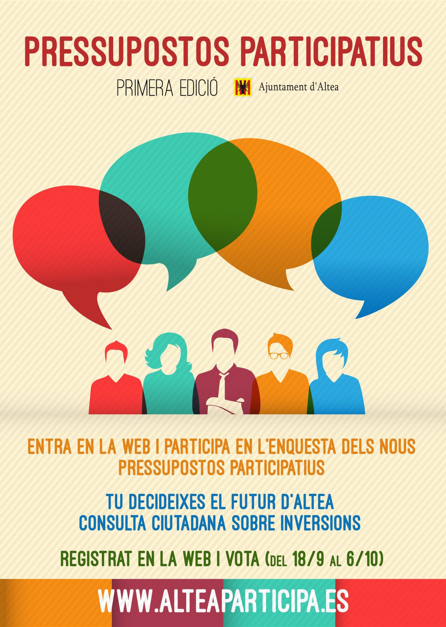 Entra en la web www.alteaparticipa.es i participa en l'enquesta dels nous pressupostos participatius. Decideix el futur d'Altea fins al 6 d'octubre.