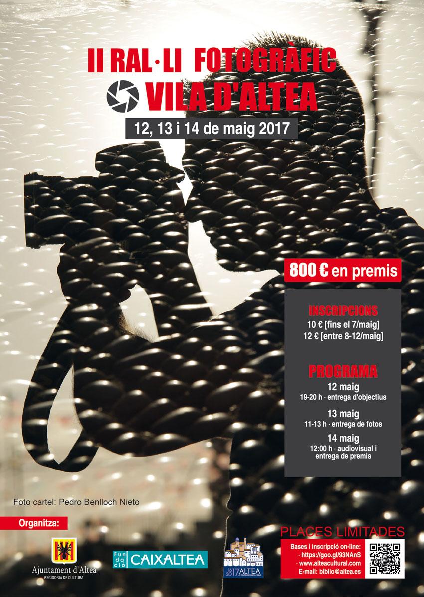Del 12 al 14 de maig tindrà lloc el II Ral·li Fotogràfic Vila d'Altea que organitza la Regidoria de Cultura. Una nova cita per als amants de la fotografia on es repartiran 800 euros en premis. Per a més informació i inscripcions: alteacultural.com