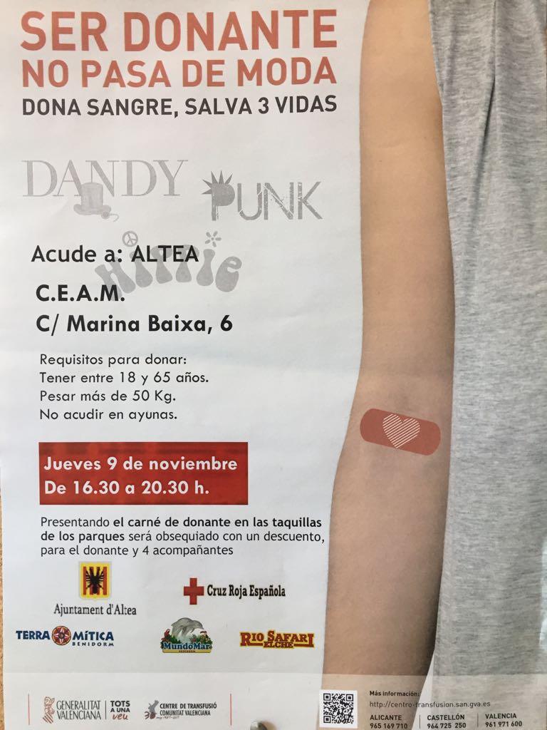 Dijous dia 9 de Novembre hi haurà una jornada de donació de sang al C.E.A.M entre les 16:30 i les 20:30 hores