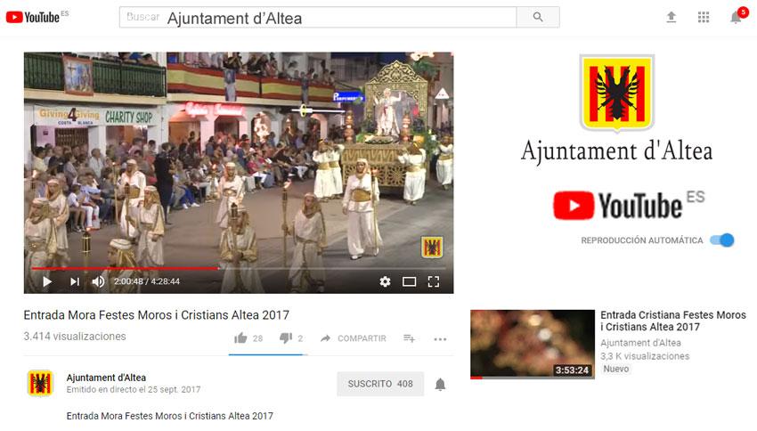 Éxito de las retransmisiones en directo de las entradas Mora y Cristiana de las fiestas de Altea