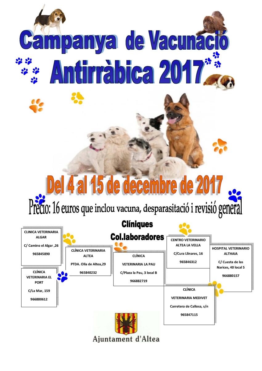 Es posa en marxa la Campanya de Vacunació Antirràbica 2017 per a gossos