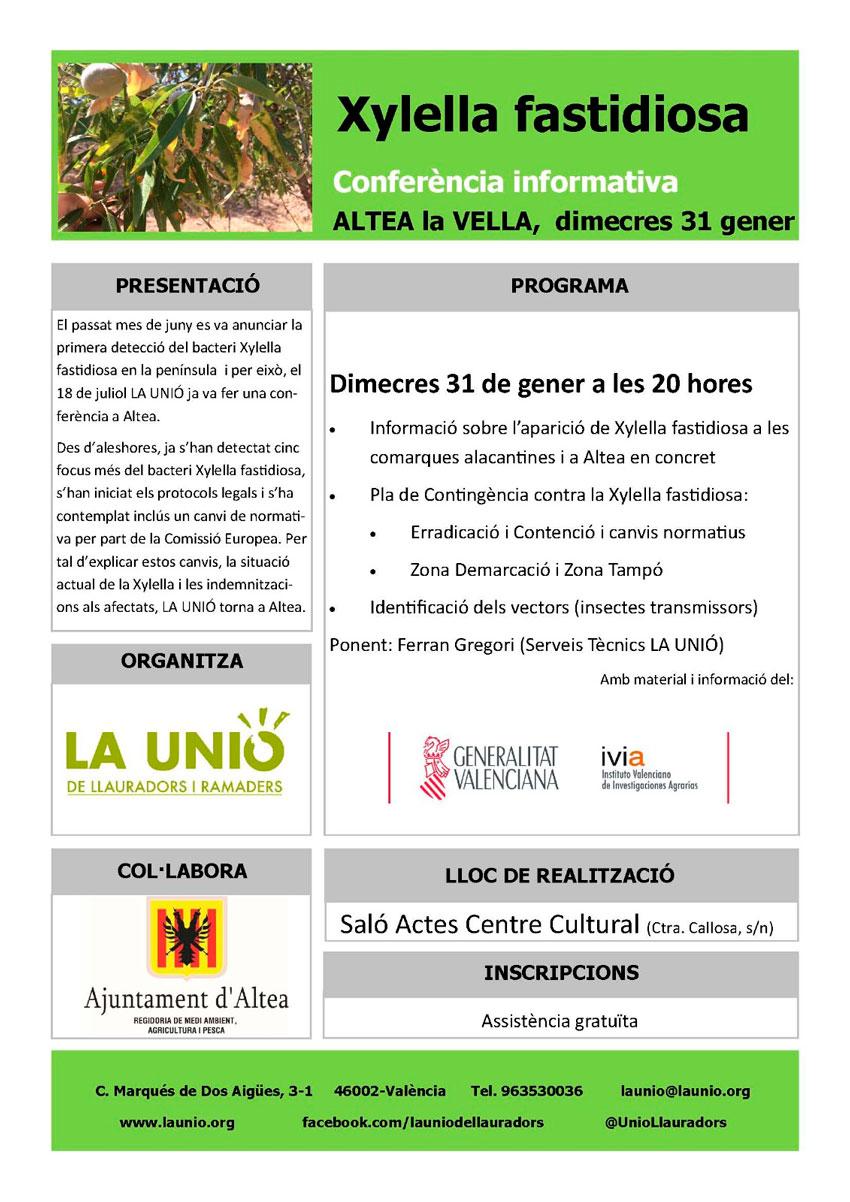 La conferència informativa Xylella Fastidiosa tindrá lloc el 31 de gener a les 20:00h a Altea La Vella