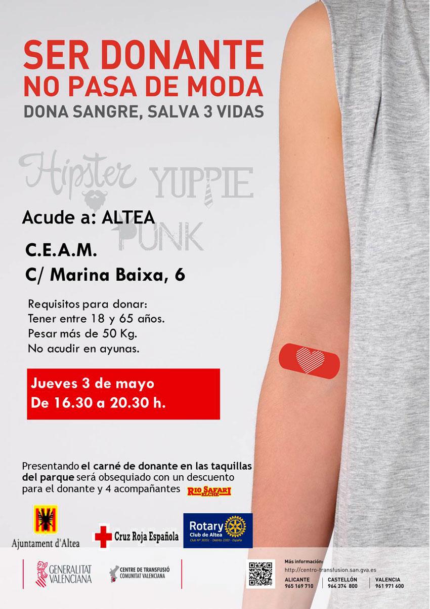 """Dijous 3 de maig, de 16:30 a 20:30h al CEAM, pots donar sang i salvar tres vides. """"Ser donant no passa de moda""""."""