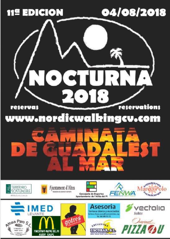 El dissabte 4 d'agost tindrà lloc la 11a edició de la caminada nocturna que organitza la regidoria d'Esports de l'Ajuntament d'Altea en col·laboració amb la de l'Alfàs del Pi i FENWA, Associació Nordic Walking Comunitat Valenciana.