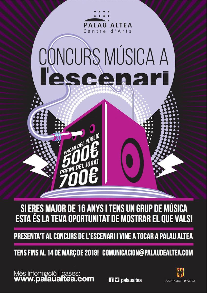 Les regidories de Cultura i Joventut de l'Ajuntament d'Altea presenten el II Concurs de Grups de Música L'ESCENARI de Palau Altea