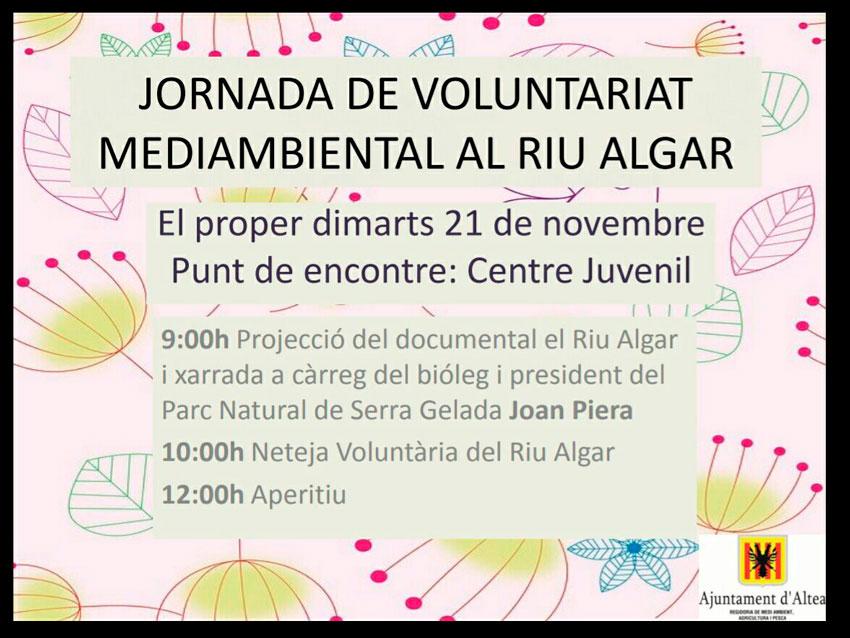 La concejalía de Medio Ambiente te invita a participar en la Jornada de Voluntariado Medioambiental en el rio Algar que tendrá lugar el martes 21 de noviembre.  La proyección de un documental, una charla, la limpieza del rio y un aperitivo completan una jornada que dará inicio a las 09:00h en el Centro Juvenil i concluirá sobre las 12:00h.