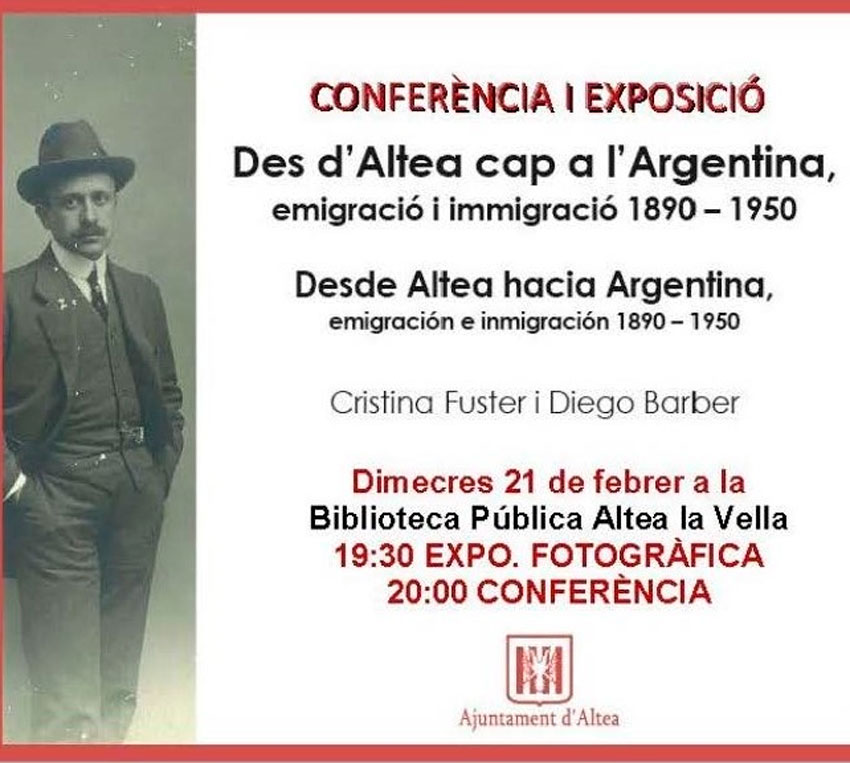 """La Biblioteca pública d'Altea la Vella acull la conferència """"Des Altea cap a Argentina, emigració i immigració 1890 – 1950"""""""