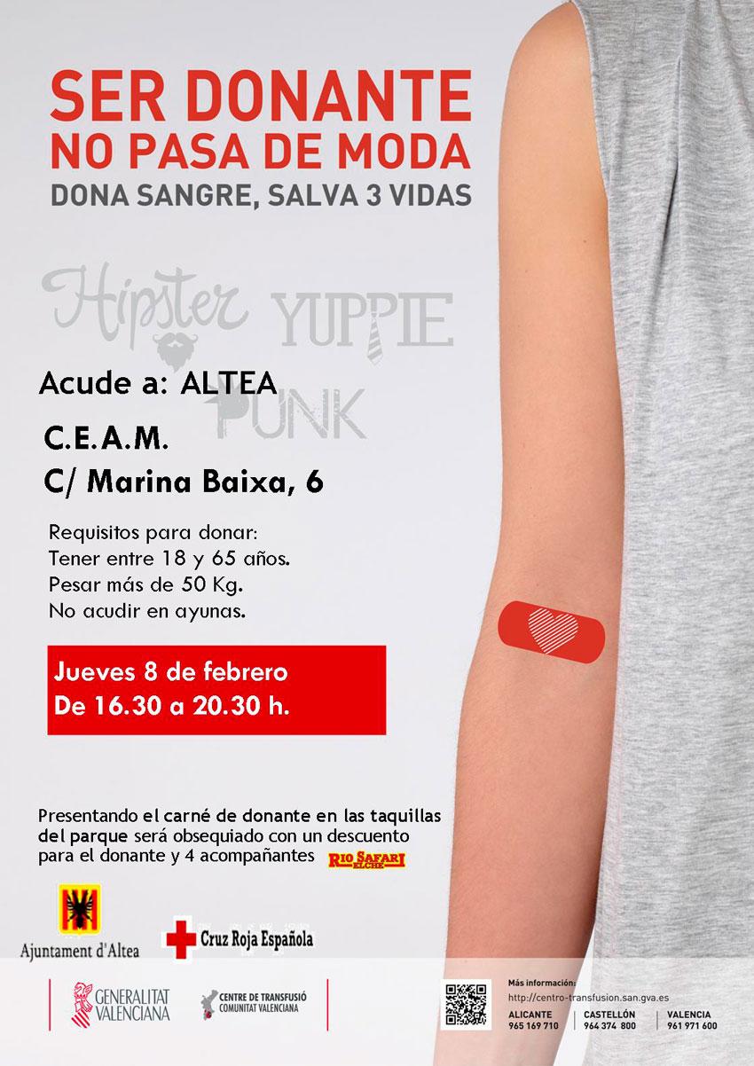 """Sota el lema """"ser donant no passa de moda"""" tindrà lloc una nova jornada de donació de sang, el proper dijous 8 de febrer al CEAM d'Altea de 16:30 a 20: 30h. Anima't, un donant, 3 vides."""