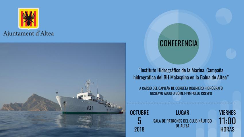 """La conferència """"Campanya Hidrogràfica del BH Malaspina a la Badia d'Altea"""", tindrà lloc el divendres 5 d'octubre, a les 11 hores a la Sala de Patrons del Club Nàutic d'Altea"""