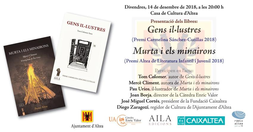 Cloenda d'honor per Llibres a la Tardor amb la presentació de les obres guanyadores de Premis Altea 2018