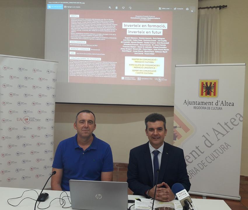 Vila Gadea acollirà la segona edició del Màster en Comunicació, Llengua i Mediació Cultural de la Universitat d'Alacant
