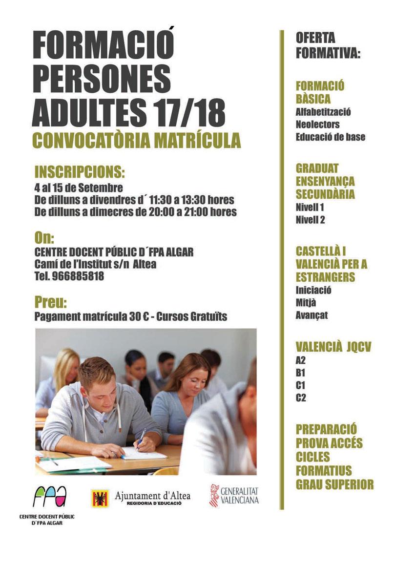Convocatòria de matrícula per al curs 2017-2018 de la Formació de Persones Adultes
