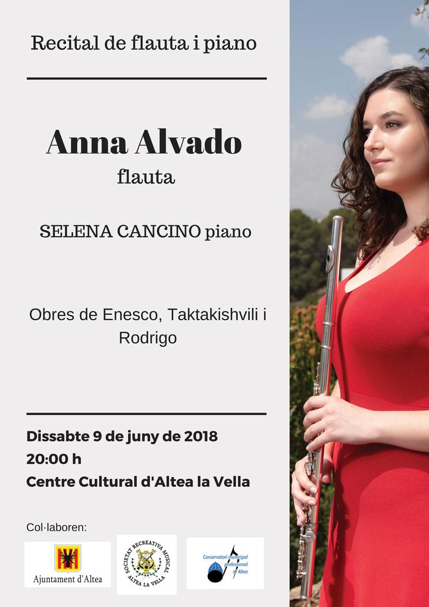 La flautista Anna Alvado ofrecerá su concierto fin de carrera el sábado 9 de junio en Altea la Vella
